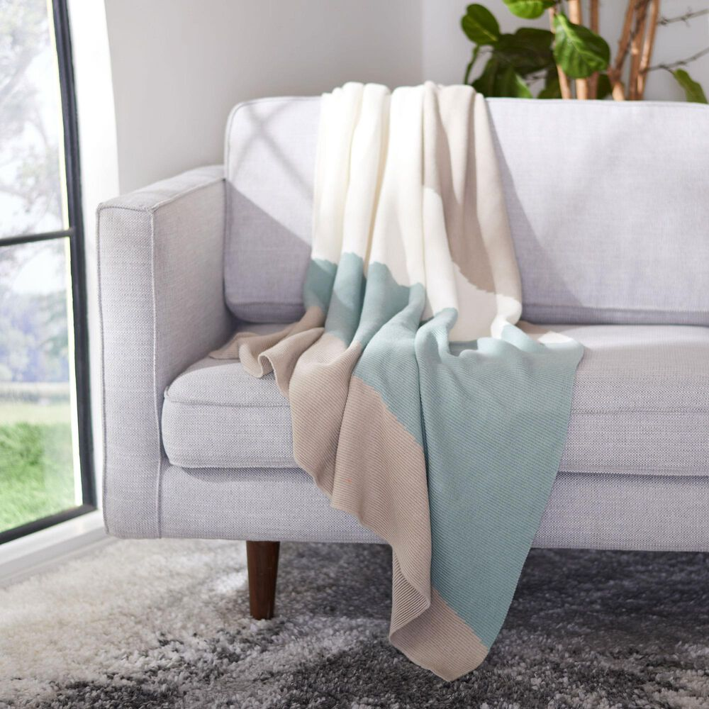 """Safavieh Elba 50"""" x 60"""" Throw in Blue and Creme, , large"""