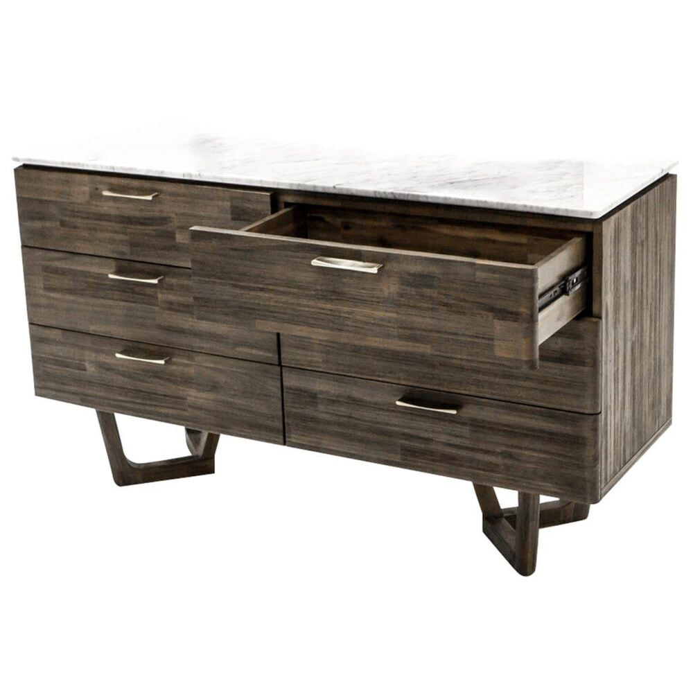 LH Imports Aura 6 Drawer Chest with White Marble Top in Gray Mix Distressed, , large