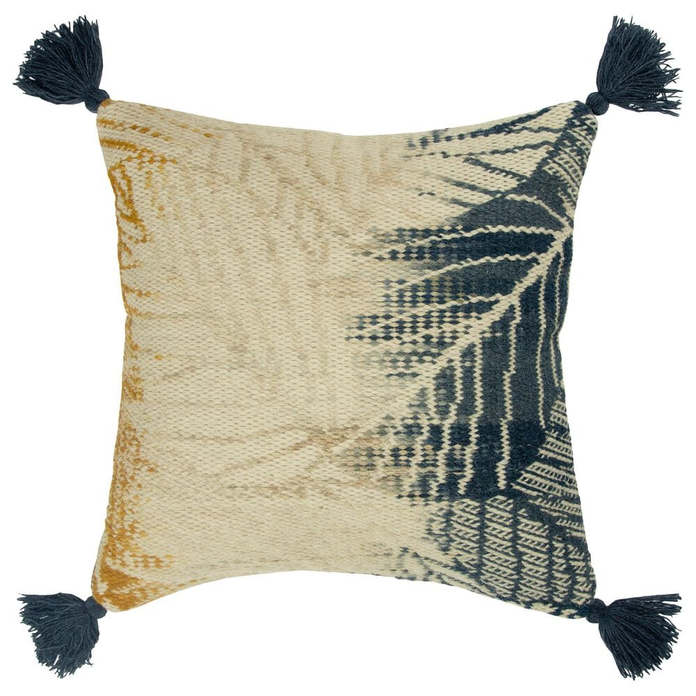 """Rizzy Home Botanical 20"""" Pillow Cover in Dark Teal and Yellow, , large"""