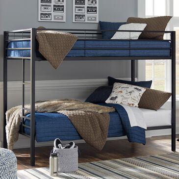 Signature Design by Ashley Broshard Twin over Twin Metal Bunk Bed in Black, , large
