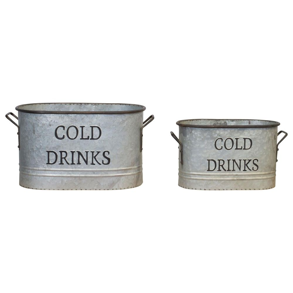 VIP Home and Garden Drink Buckets in Gray and Black (Set of 2), , large
