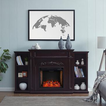 Southern Enterprises Swela Electric Fireplace with Bookcases in Espresso, , large