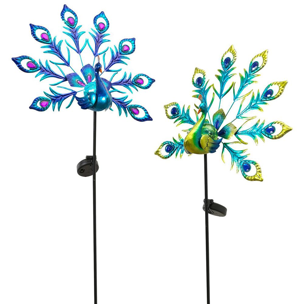 The Gerson Company Solar Peacock Yard Stakes (Set of 2), , large