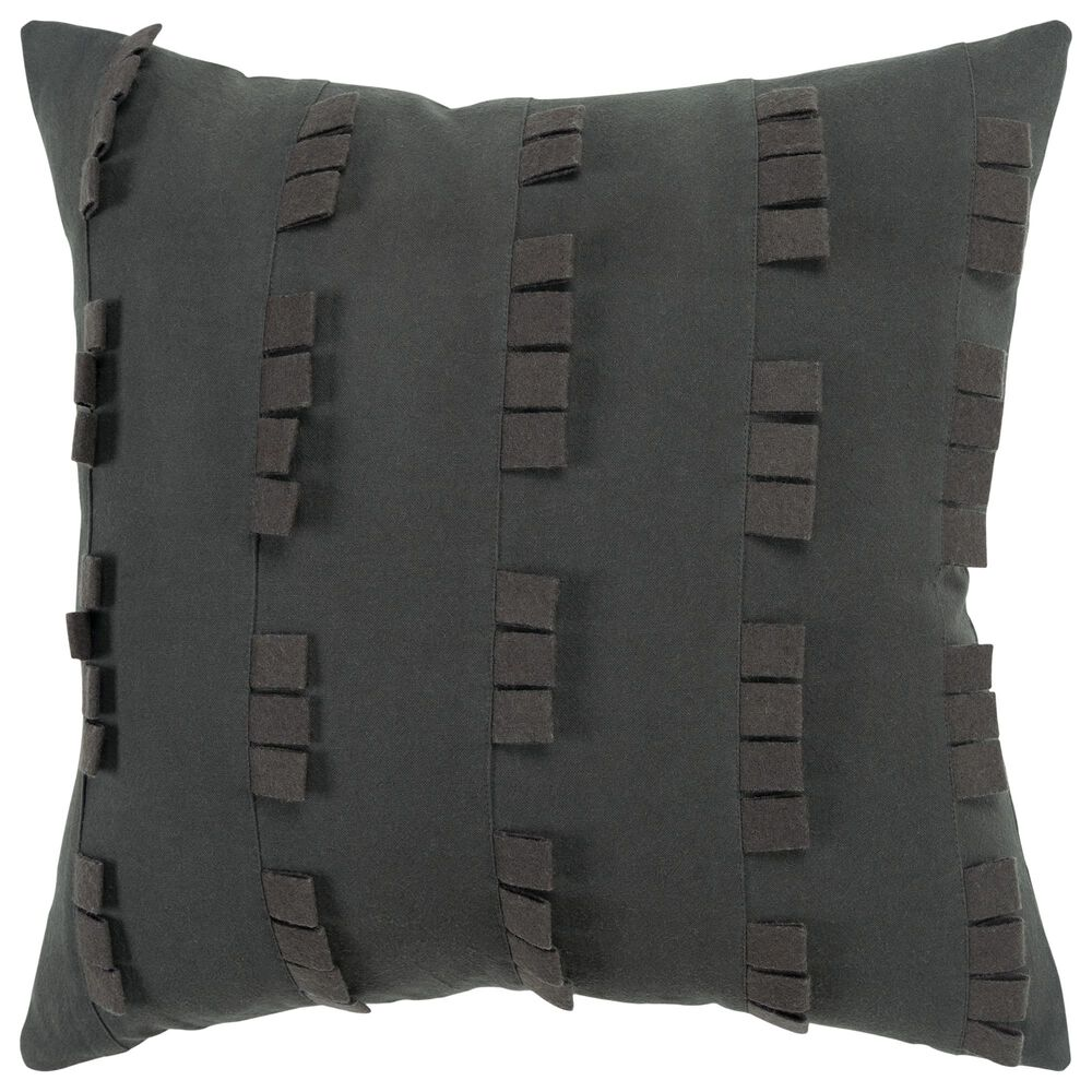 """Rizzy Home Donny Osmond Solid 20"""" Pillow Cover in Charcoal, , large"""