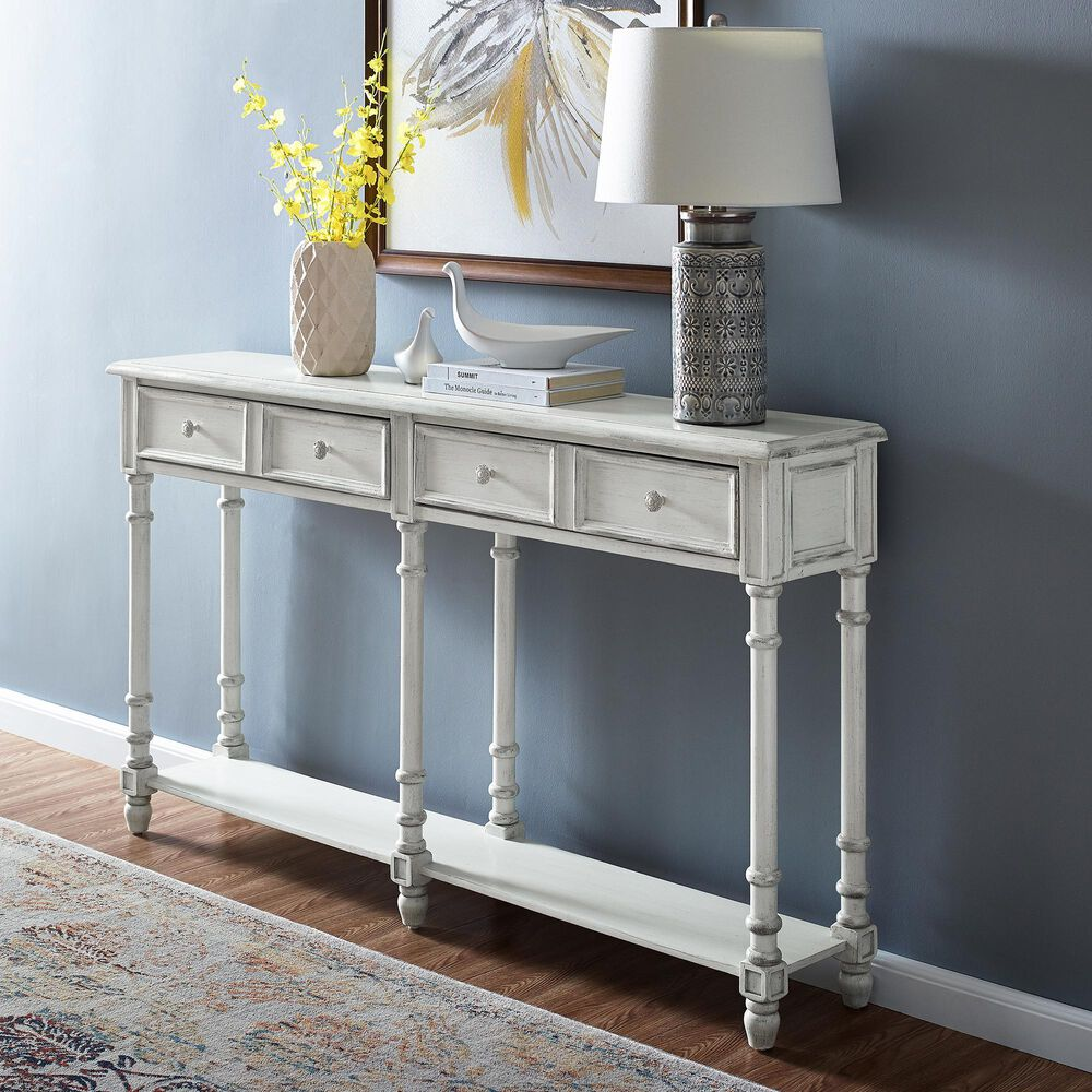 Accentric Approach Accentric Accents Benton 2-Drawer Console Table in White, , large