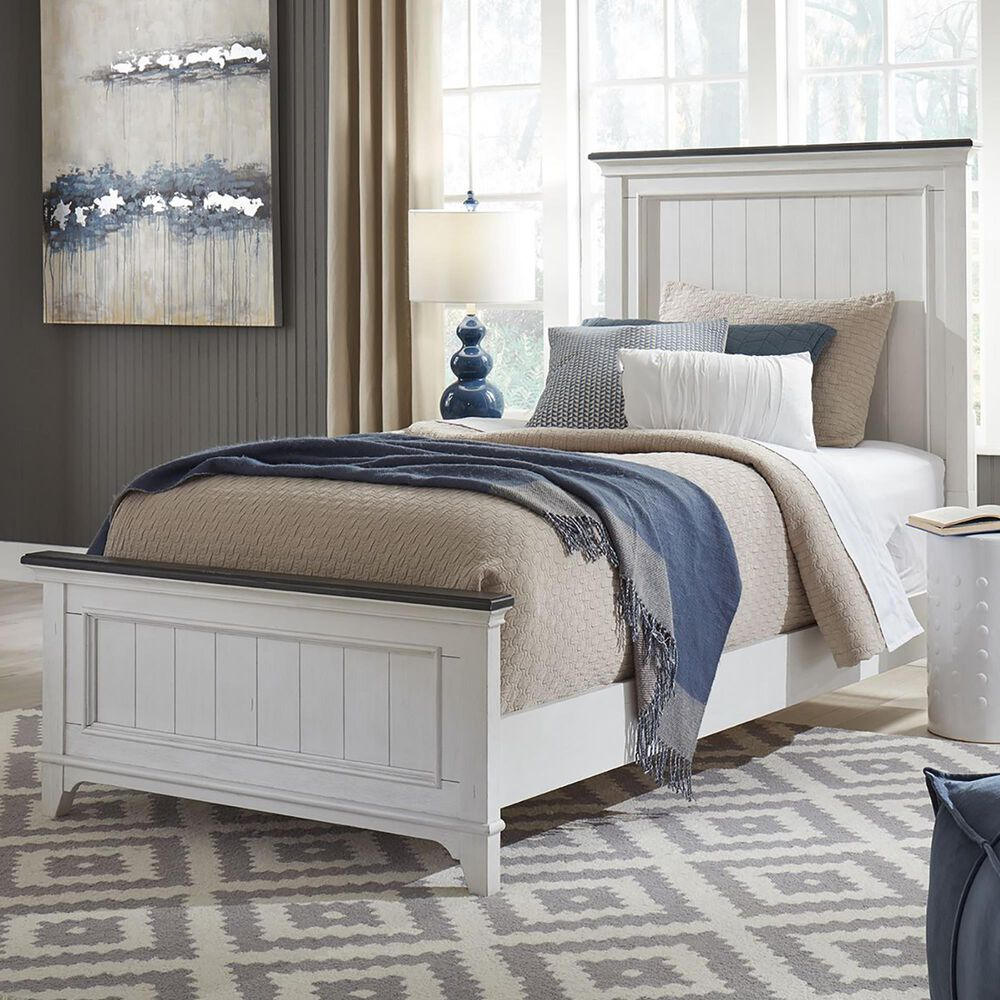 Belle Furnishings Allyson Park 5 Piece Full Bedroom Set in Wire Brushed White and Charcoal, , large