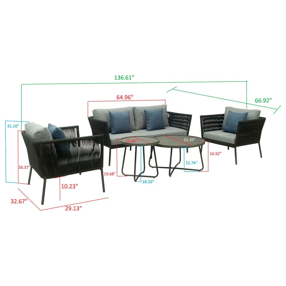 GreyPoint Waverly 2-Seater Conversation Set in Black/Dark Gray, , large