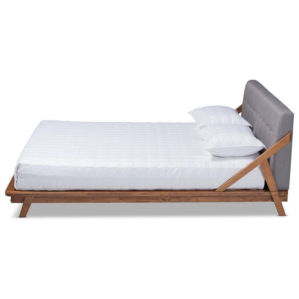 Baxton Studio Sante King Upholstered Platform Bed in Gray/Walnut, , large