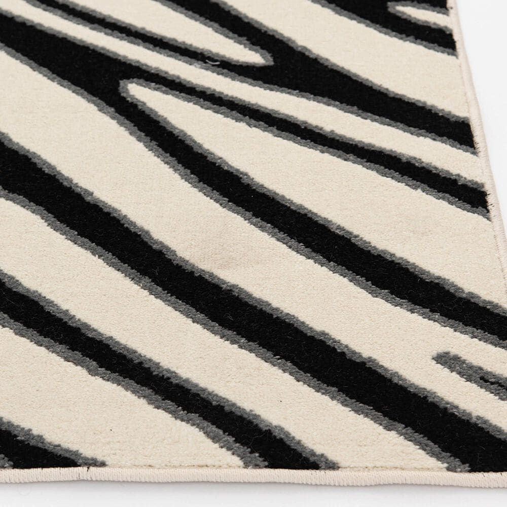 """Central Oriental Terrace Tropic Jayla 2350NE.085 6'7"""" x 9'6"""" White and Black Area Rug, , large"""