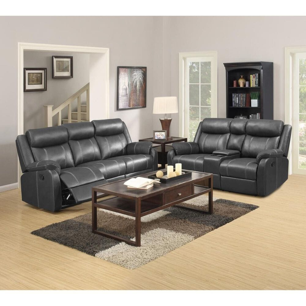 Klaussner Domino Reclining Sofa With Drop Down Table in Valor Carbon , , large