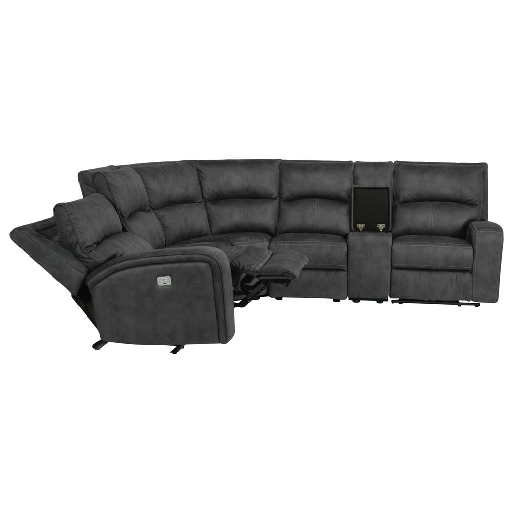 Flexsteel Nirvana 6-Piece Reclining Sectional with Power Headrest in Gray, , large