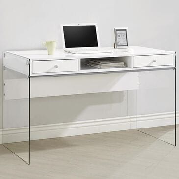 Pacific Landing Computer Desk with Glass Sides in Glossy White, , large