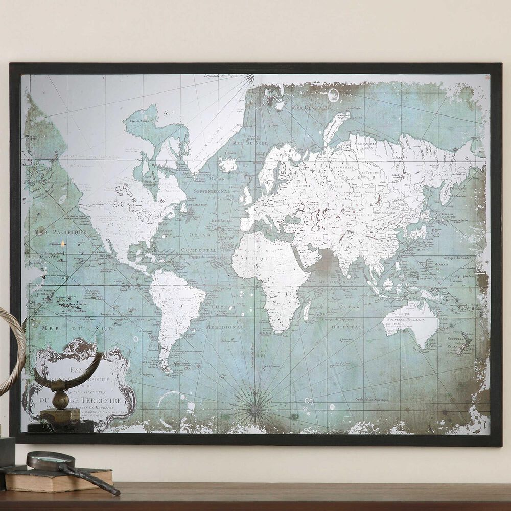Uttermost World Map in Green and Black, , large