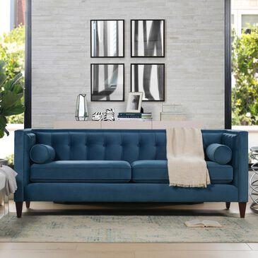 Jennifer Taylor Home Jack Tufted Tuxedo Sofa Double Cushion in Satin Teal Velvet, , large
