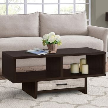 Monarch Specialties Coffee Table in Espresso and Taupe, , large