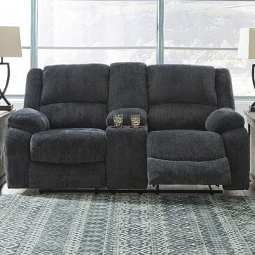 Signature Design by Ashley Draycoll Reclining Loveseat with Console in Slate, , large