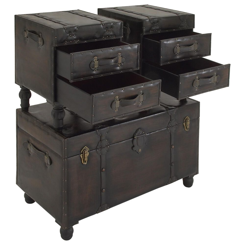Maple and Jade Storage Trunks in Brown (Set of 3), , large