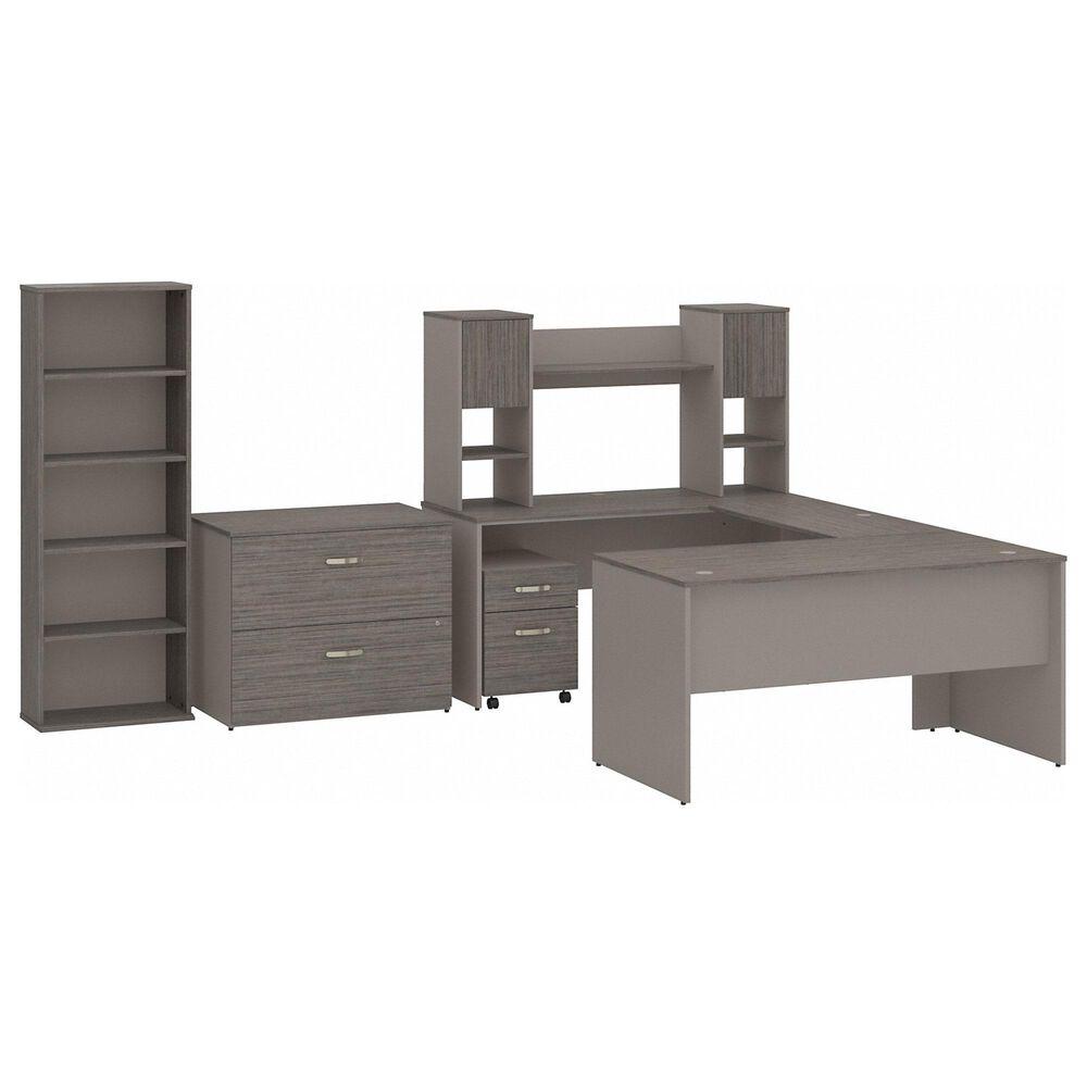Bush 3-Piece U-Shaped Desk Set in Cocoa/Pewter, , large