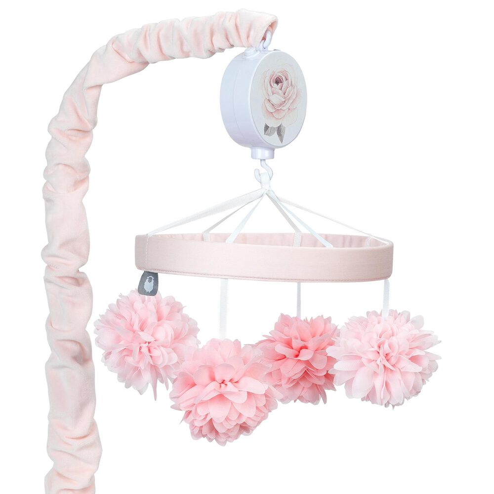 Lambs and Ivy Signature Botanical Baby Floral Musical Baby Crib Mobile in Pink and Gray, , large