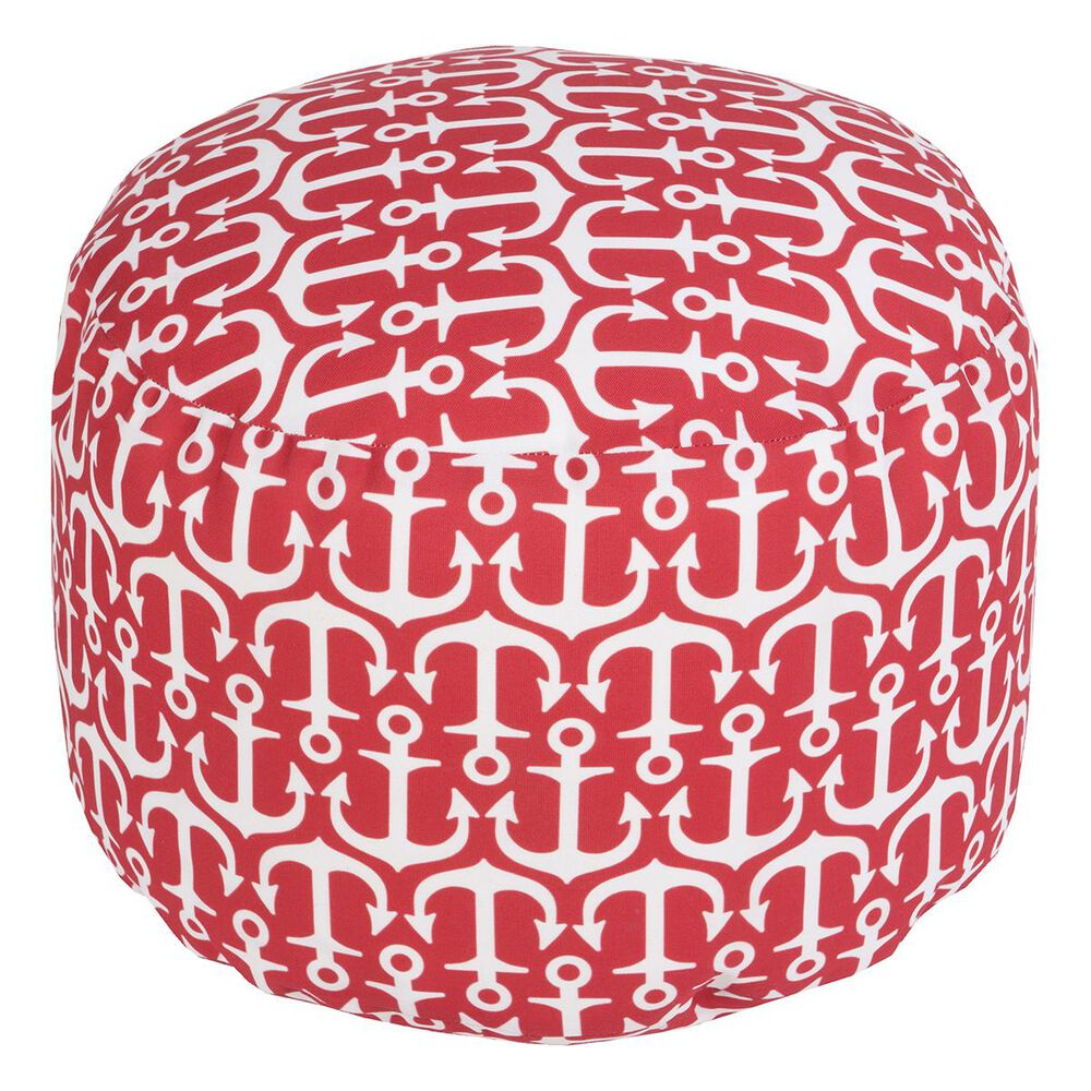 Surya Inc Anchor Cylinder Pouf in Poppy, , large