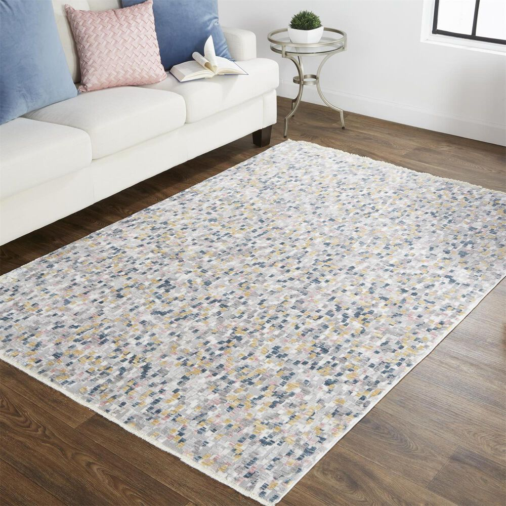 Feizy Rugs Kyra 5' x 7' Ivory and Blue Area Rug, , large