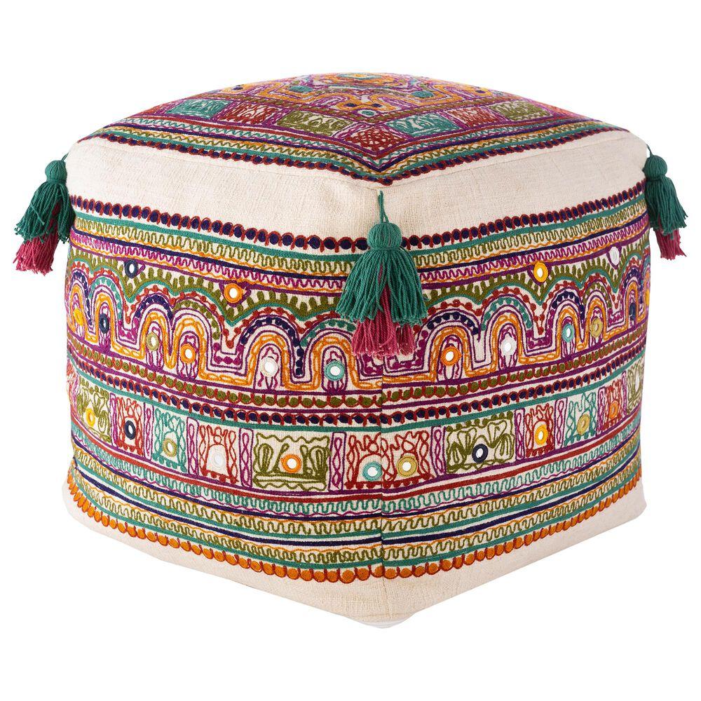 Surya Inc Ridhi Pouf in Multi, , large