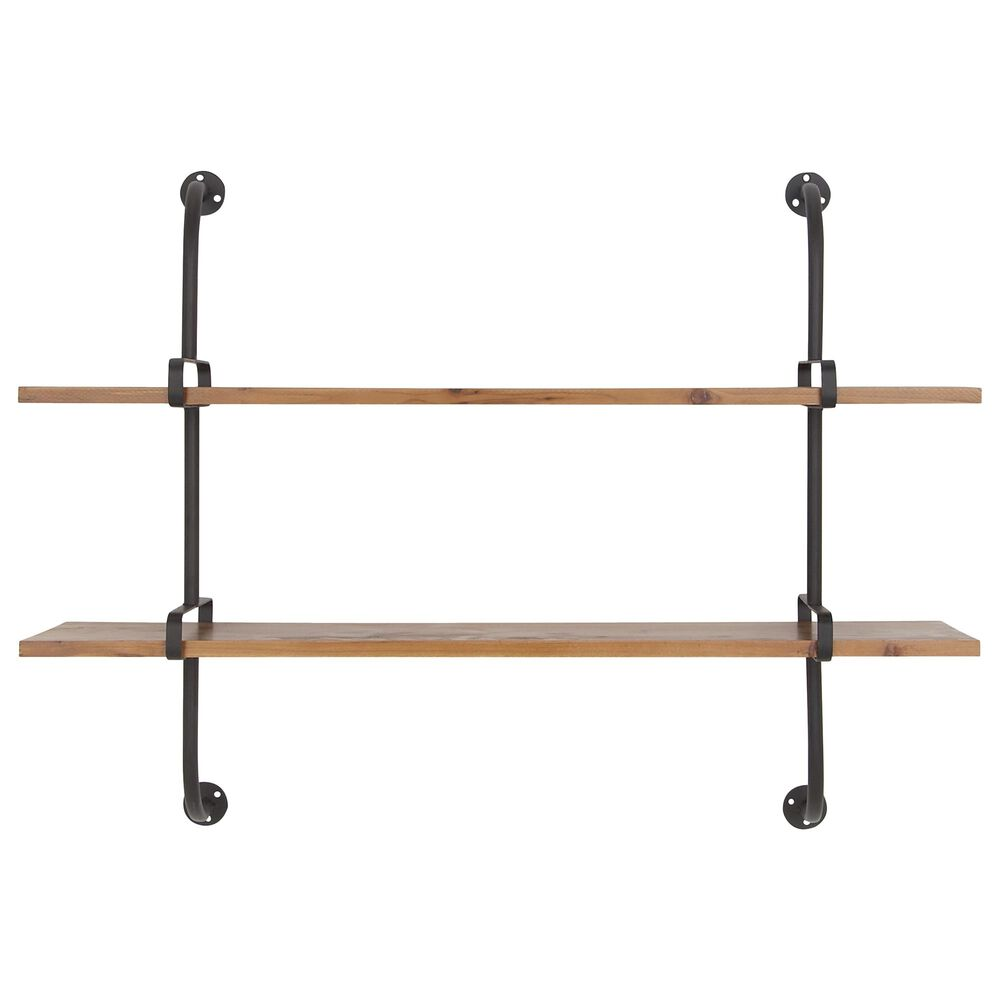 """Maple and Jade 29"""" x 37"""" 2-Tiered Wall Shelf in Brown, , large"""