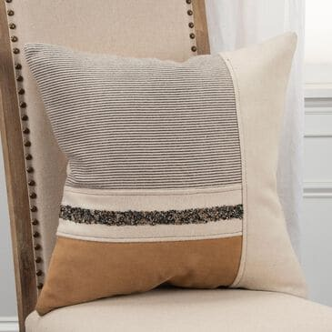 """Rizzy Home Striped 20"""" Down Filled Pillow in Natural, , large"""