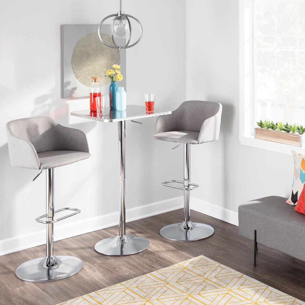 Lumisource Bistro Adjustable Bar Table in Silver/Chrome, , large