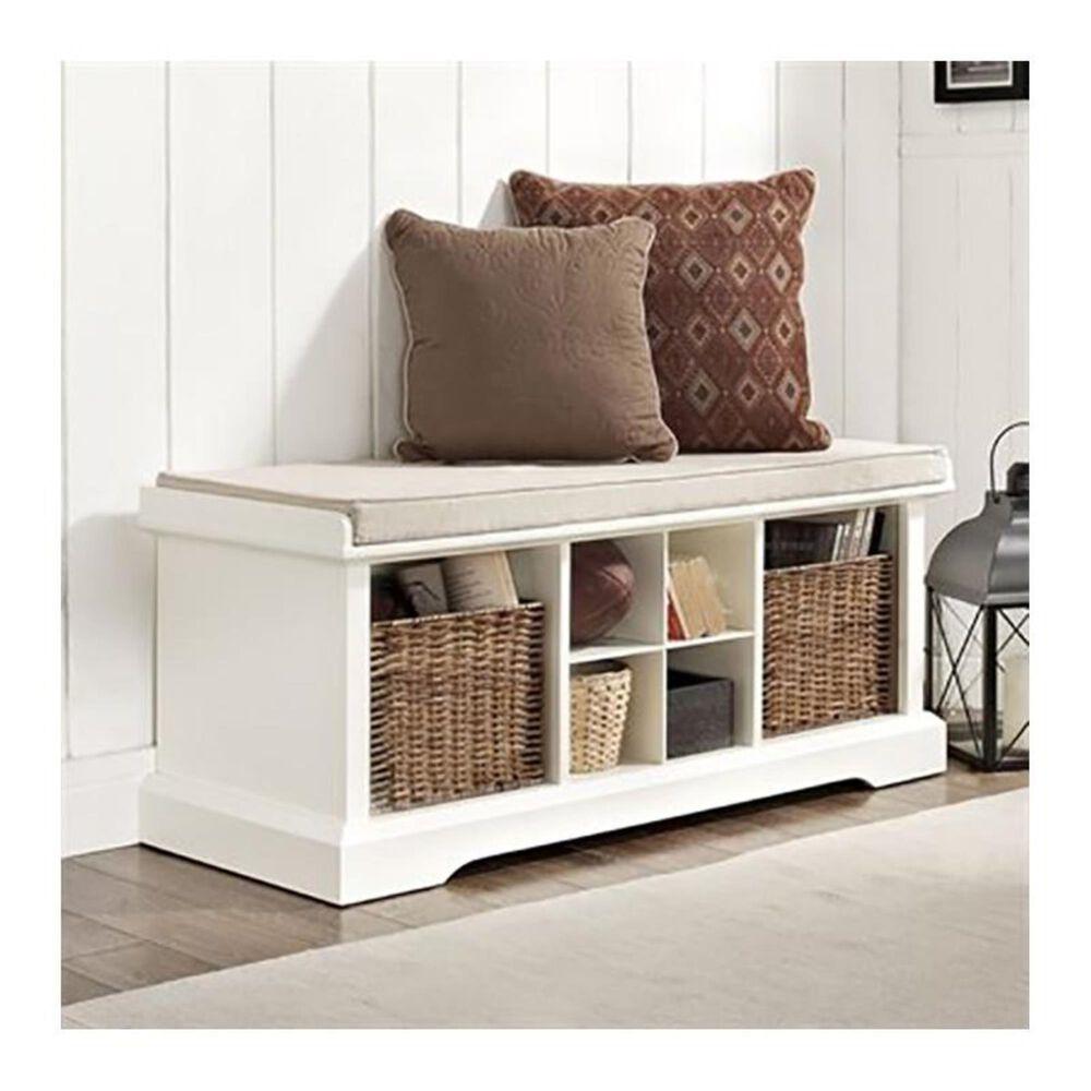 Crosley Furniture Brennan Entryway Storage Bench in White, , large