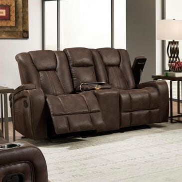 Inspirations Reclining Loveseat with Console in Tucson Brown , , large