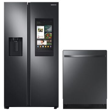 Samsung 2-Piece Kitchen Package with 26.7 Cu. Ft. Side-By-Side Refrigerator and Top Control Dishwasher in Black Stainless Steel, , large
