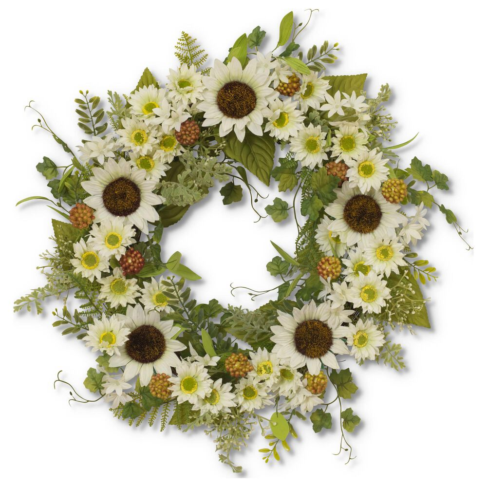 """The Gerson Company 24"""" Sunflower Wreath in Green, , large"""