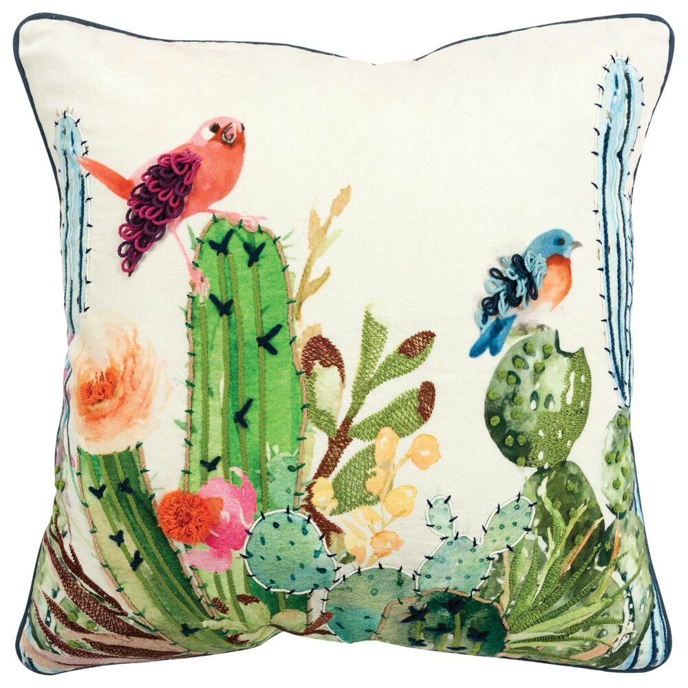 """Rizzy Home Floral 20"""" Poly Filled Pillow in Multi, , large"""