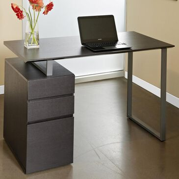 Unique Furniture 200 Collection Writing Desk with Pedestal in Espresso, , large