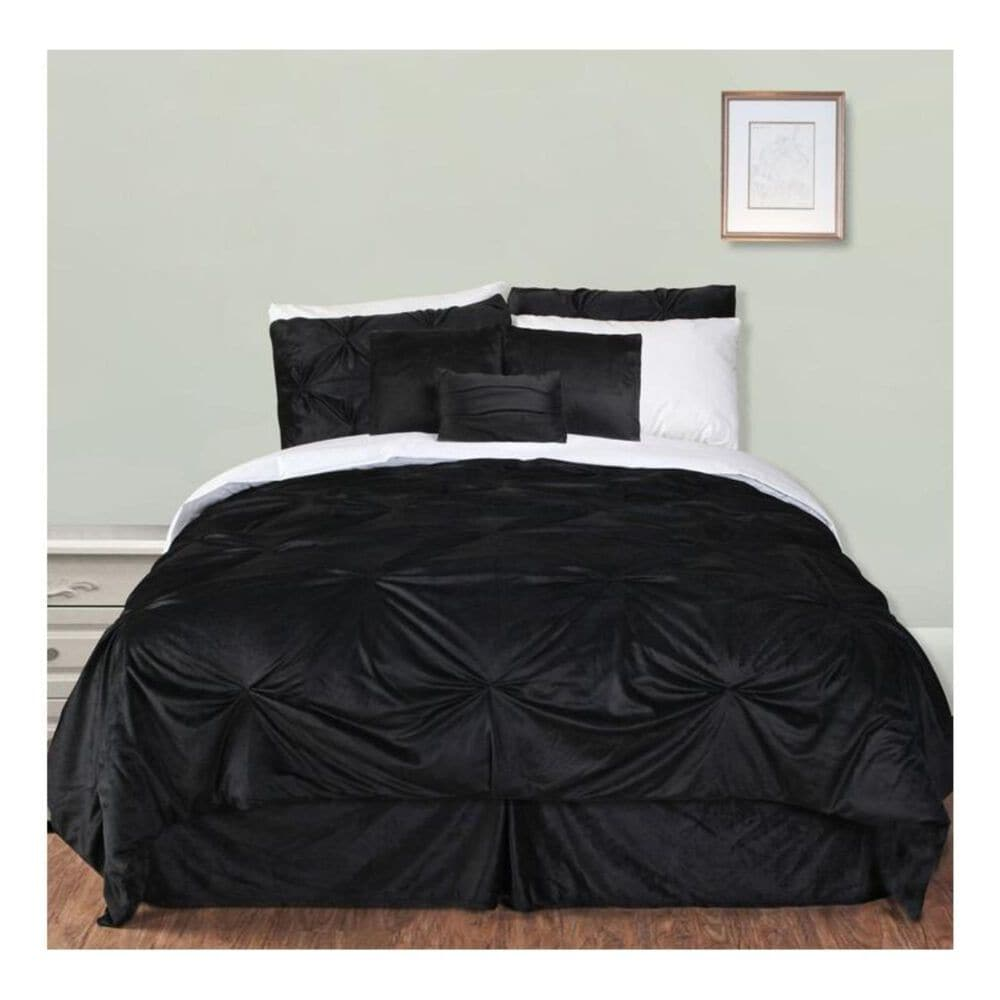 Epoch Hometex Hudson Street King Pintuck Plush Comforter Set in Black, , large
