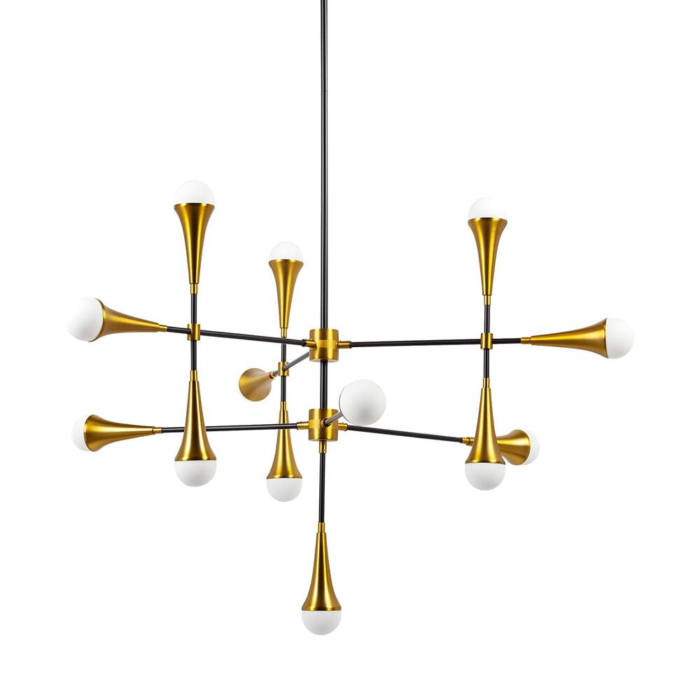 Mercana Decarlo I 13-Light Chandelier in Matte Black and Antiqued Brass, , large