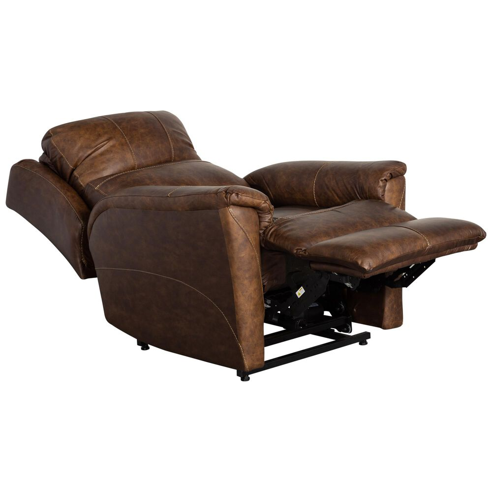 Southern Motion Leather Power Lift Recliner with Power Headrest in Chaps Brown, , large