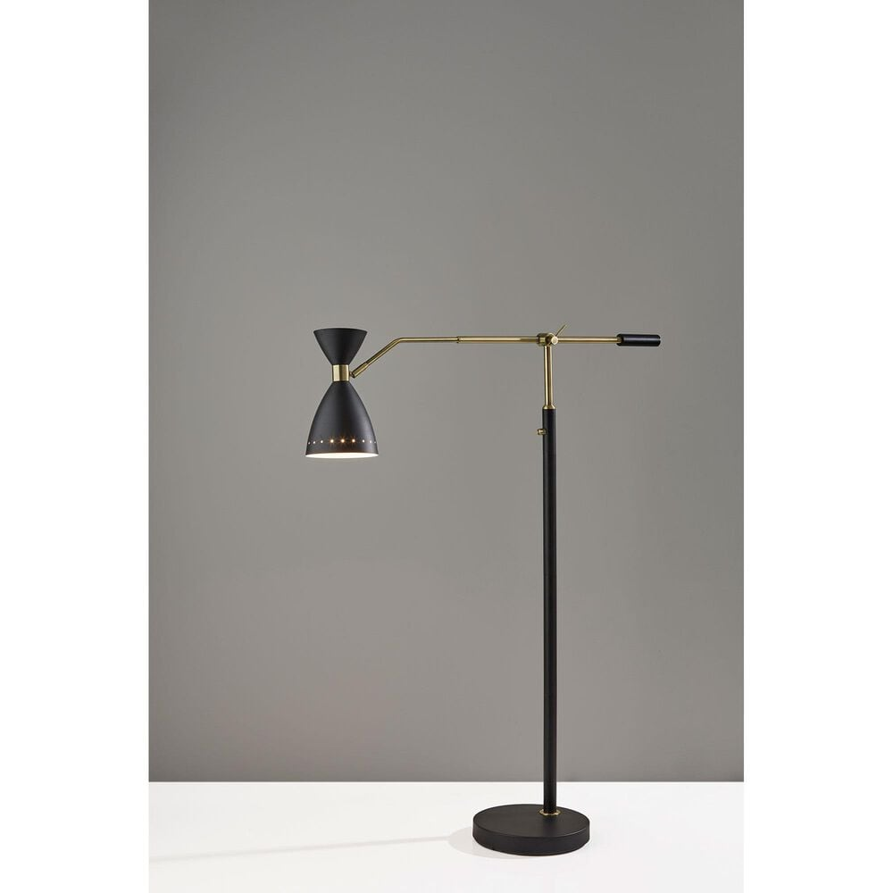 Adesso Oscar Adjustable Floor Lamp in Black and Antique Brass, , large