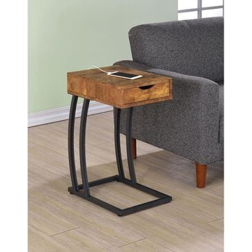 Pacific Landing Accent Table with Power Strip in Antique Nutmeg, , large