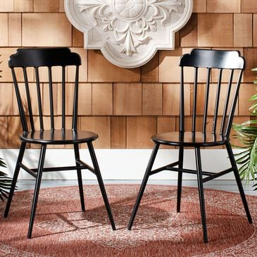 Safavieh Broderick Stackable Side Chair in Matte Black (Set of 2), , large