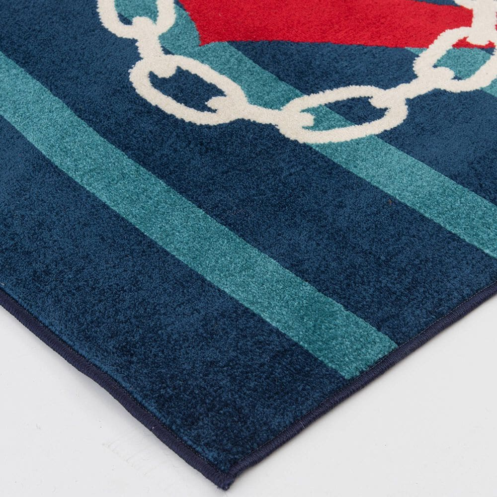 "Central Oriental Terrace Tropic Anchored Stripes 2344WO.085 5' x 7'3"" Sapphire and Coral Area Rug, , large"