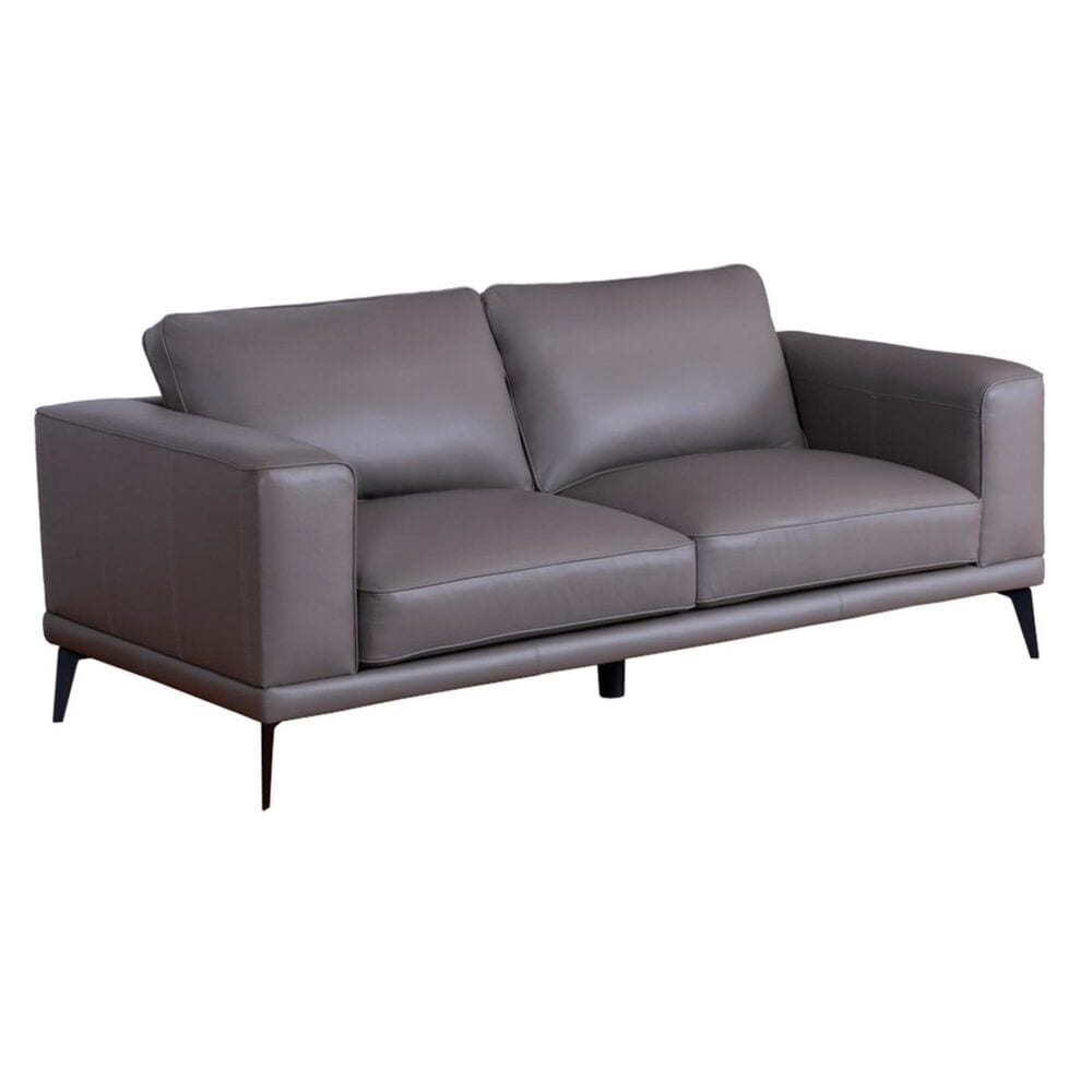 Devon and Claire Naples Leather Loveseat in Gray, , large