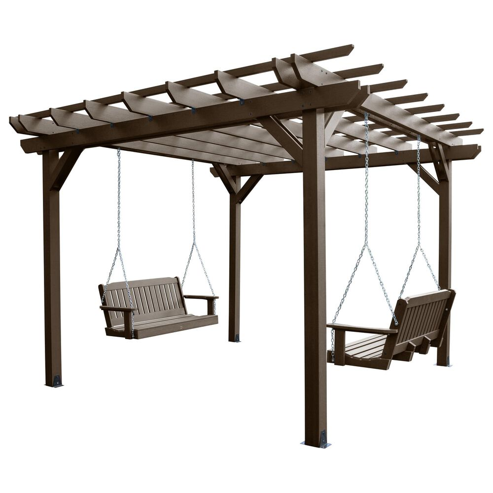 Highwood USA Bodhi 12' x 12' Pergola with 2 Lehigh 4' Porch Swings in Weathered Acorn, , large