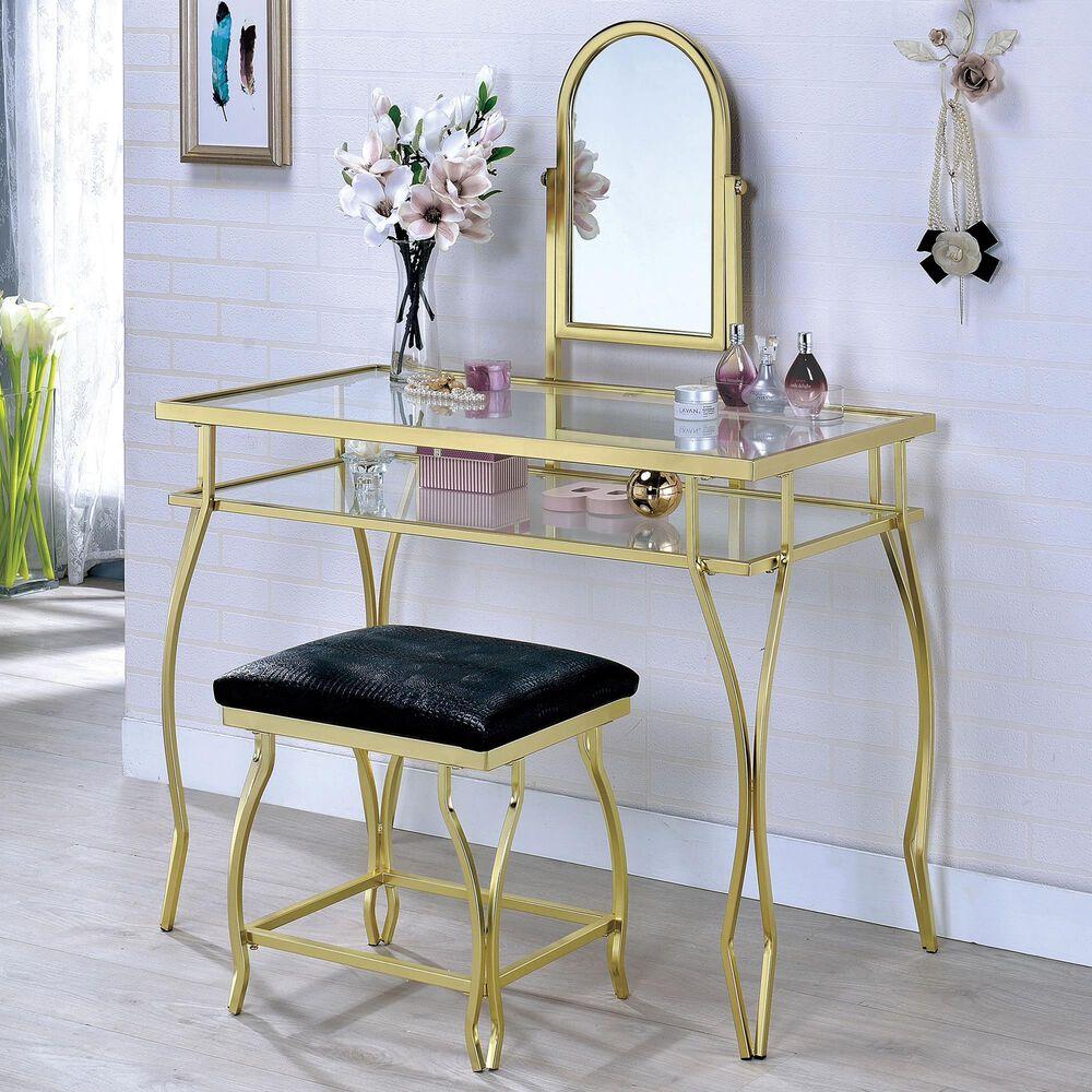 Furniture of America Sandoval 3 Piece Vanity Set in Black, , large