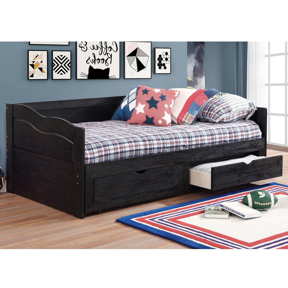 Furniture of America Armstrong Twin Storage Daybed in Black, , large