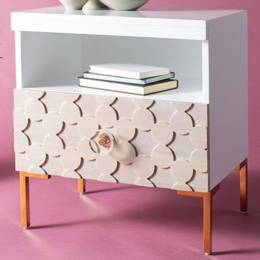 Safavieh Sylvie 1-Drawer Side Table in White and Brass, , large