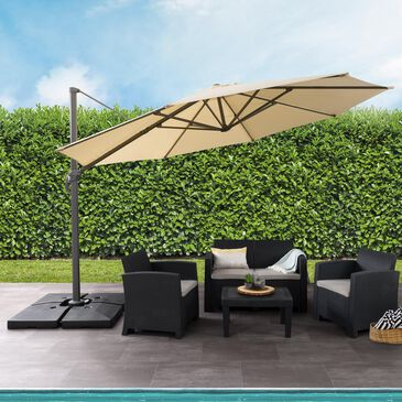 CorLiving 11.5' UV Resistant Deluxe Patio Umbrella in Warm White, , large