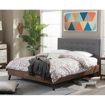 Baxton Studio Alinia Full Platform Bed with Grey Upholstered in Walnut, , large