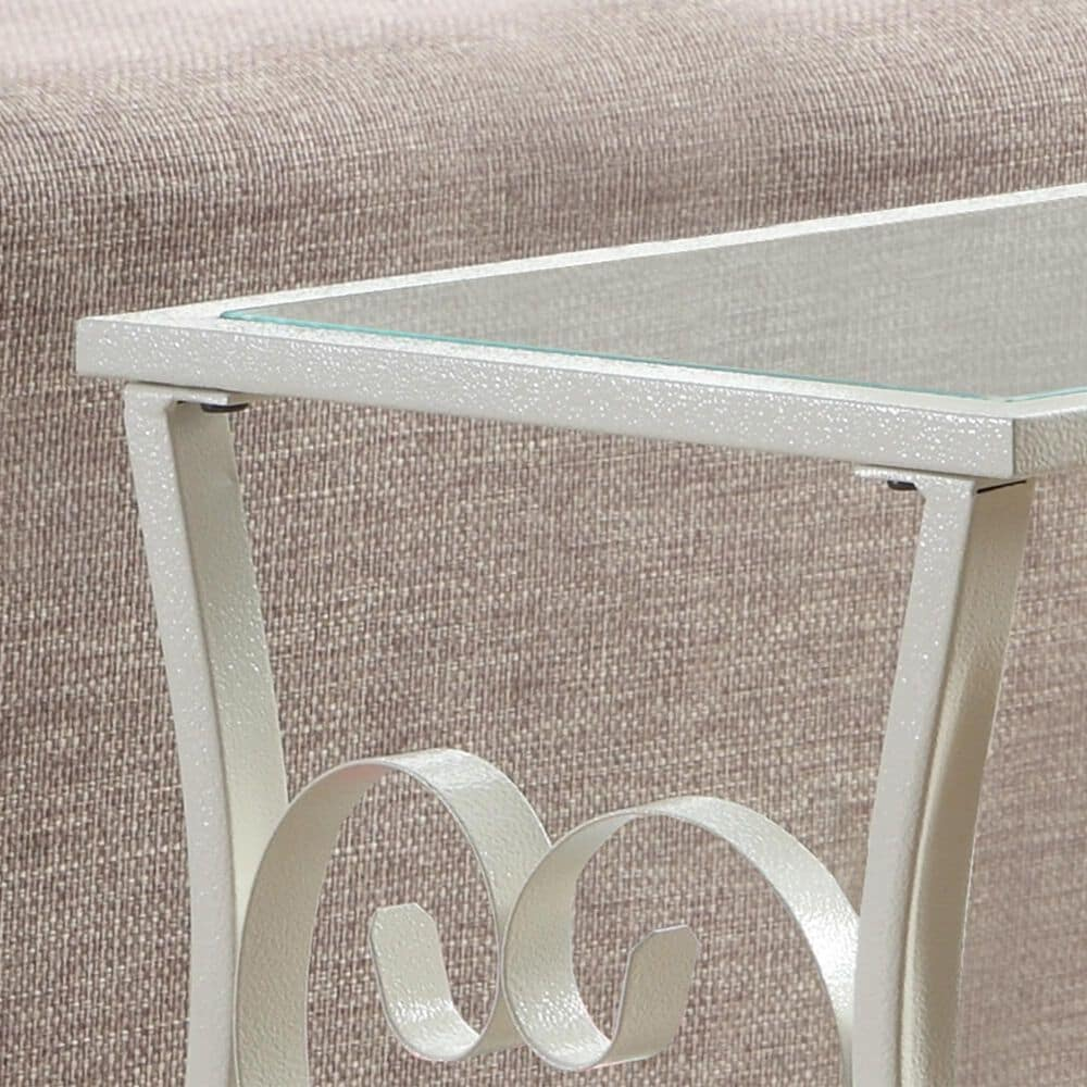 Monarch Specialties Accent Table in White with Antique Finish, , large
